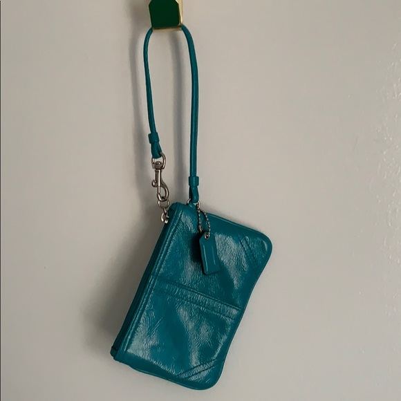 Coach Handbags - Coach, teal leather wristlet